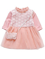 cheap -Girl's Solid Dress Spring Long Sleeves Simple White Blushing Pink