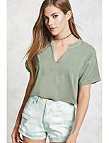 cheap -Women's T-shirt - Solid, Cut Out V Neck