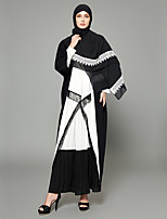abordables -Femme Grandes Tailles Sortie Bohème Manches Evasées Ample Ample Balançoire Abaya Robe - Dentelle Mosaïque Lacet, Couleur Pleine Taille