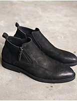 cheap -Men's Shoes Nappa Leather Spring Fall Comfort Oxfords for Casual Party & Evening Black Coffee