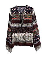 cheap -Women's Holiday Boho T-shirt - Floral V Neck
