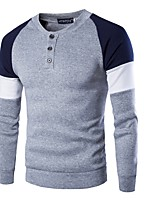 cheap -Men's Sports Simple Casual Long Sleeves Sweatshirt - Color Block Round Neck