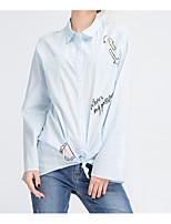 Недорогие -Жен. Рубашка, Рубашечный воротник Полиэстер