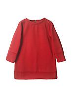 abordables -Robe Fille de Quotidien Vacances Couleur Pleine Coton Polyester Spandex Printemps Manches Longues simple Actif Orange