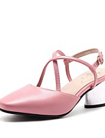 cheap -Women's Shoes Leatherette Spring Summer Ankle Strap Heels Chunky Heel Square Toe Buckle for Casual Party & Evening White Pink Almond