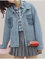 cheap -Women's Cute Casual Denim Jacket-Solid Colored Shirt Collar