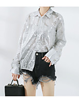 cheap -Women's Street chic Cotton Shirt - Solid Colored, Sequins Shirt Collar