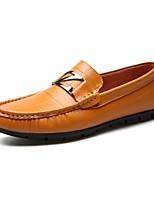Недорогие -Муж. обувь Кожа Весна Осень Удобная обувь Мокасины и Свитер для Повседневные Черный Желтый
