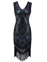 abordables -Gatsby le magnifique Gatsby Années 20 Costume Femme Bandeau Garçonne Noir Doré Vintage Cosplay Polyester Sans Manches