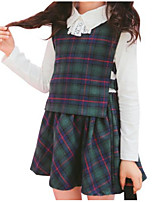 abordables -Ensemble de Vêtements Fille Quotidien Rayé Imprimé Coton Printemps Eté Manches Longues Mignon Décontracté Vert