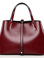 cheap -Women's Bags PU Tote Buttons for Shopping Casual All Seasons Black Brown Wine
