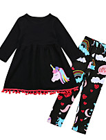 cheap -Girls' Daily Sports Print Clothing Set, Cotton Polyester Spring Summer Long Sleeves Cute Active Black