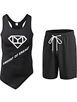 cheap -Men's Activewear Set Sleeveless Short Pant Breathability Clothing Suits for Fitness Polyester Black Yellow Green Blue Red/White S M L XL
