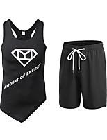 abordables -Homme Activewear Set Sans Manches / Pantalon court Respirabilité Ensemble de Vêtements pour Fitness Polyester Vert / Bleu / Rouge / Blanc
