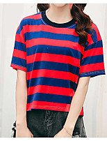 cheap -Women's Basic Street chic T-shirt - Striped
