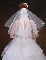 cheap -Two-tier Modern Style Bridal Princess Simple Style Wedding Wedding Veil Elbow Veils 53 Fringe Splicing Tulle