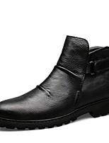 cheap -Men's Shoes Cowhide Nappa Leather Winter Fluff Lining Bootie Boots for Casual Office & Career Black Dark Brown