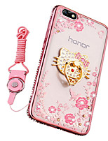 cheap -Case For Huawei Honor 7X Shockproof Rhinestone with Stand Back Cover Flower Soft Silicone for Huawei Honor 4X