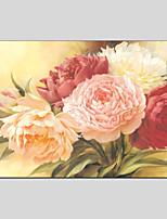 Недорогие -Hang-роспись маслом Ручная роспись Цветочные мотивы/ботанический Горизонтальная панорама, Modern Украшение дома 1 панель