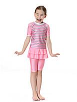 cheap -Girls' Boho Color Block Swimwear, Polyester Nylon Spandex Short Sleeve Blushing Pink Light Blue