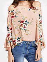 cheap -Women's Flare Sleeve Blouse - Floral, Ruffle Boat Neck