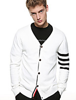 cheap -Men's Long Sleeves Slim Cardigan - Striped V Neck