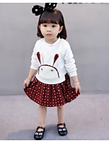 cheap -Girl's Daily Holiday Animal Print Color Block Dress, Cotton Spring Fall Long Sleeves Cute Active White Red Blushing Pink
