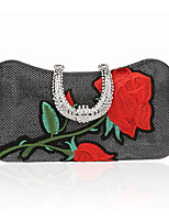 cheap -Women's Bags Polyester Evening Bag Buttons Embroidery for Wedding Event/Party All Seasons Black Silver Red Gray Purple