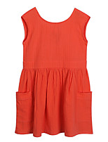 cheap -Girl's Daily Holiday Solid Dress, Cotton Spring Summer Short Sleeves Simple Active Orange