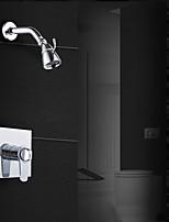Недорогие -Современный Душевая система Дождевая лейка Термостатический Керамический клапан Одной ручкой три отверстия Хром, Смеситель для душа