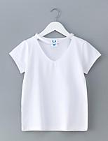 abordables -Robe Fille de Quotidien Vacances Couleur Pleine Coton Polyester Printemps Eté Manches Courtes simple Mignon Blanc Gris Foncé Vert Véronèse