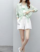 abordables -Femme Grandes Tailles Manche Gigot Coton Set - Couleur Pleine, Plissé Pantalon