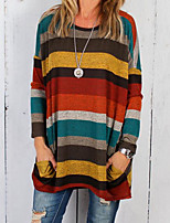 cheap -Women's Basic Color Block T-shirt - Striped Round Neck