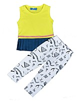 cheap -Girls' Daily Holiday Print Clothing Set, Cotton Spring Summer Sleeveless Cute Active Yellow