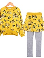 cheap -Girls' Daily Floral Clothing Set, Cotton Polyester Spring Fall Long Sleeves Cute Yellow