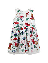 cheap -Girl's Daily Floral Dress, Cotton Spring Summer Simple Cute White