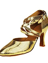 cheap -Women's Modern Faux Leather Sandal Heel Professional Customized Heel Gold Customizable