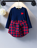 cheap -Girl's Daily School Geometric Dress, Cotton Spring Summer Long Sleeves Simple Casual Royal Blue
