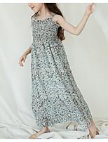 abordables -Robe Fille de Quotidien Fleur Polyester Eté Sans Manches simple Vert Rose Claire