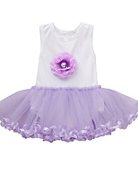 cheap -Girl's Daily Solid Colored Dress, Cotton Polyester Summer Short Sleeves Cute Active Purple