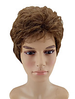 cheap -Synthetic Wig Curly Layered Haircut Natural Hairline Brown Men's Capless Natural Wigs Short Synthetic Hair