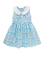cheap -Girl's Daily Floral Dress, Cotton Polyester Spring Summer Sleeveless Cute Blue