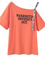 preiswerte -Damen Niedlich Ausgehen Baumwolle T-shirt, Schulterfrei Ein-Schulter
