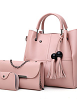 cheap -Women's Chain / Tassel Leather Bag Set Solid Color 3 Pcs Purse Set Black / Dark Brown / Wine