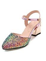 preiswerte -Damen Schuhe Glitzer Frühling Sommer Knöchelriemen High Heels Blockabsatz Spitze Zehe Schnalle für Normal Party & Festivität Weiß Schwarz