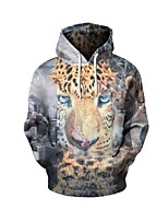 cheap -Men's Daily Leopard Hooded Hoodie Short, Long Sleeves Spring Spandex