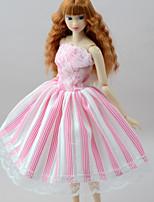 Недорогие -Платья Платья Для Кукла Барби Бледно-розовый Полиэстер/Хлопок Полиэфирно-льняная ткань Платье Для Девичий игрушки куклы
