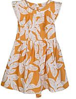 preiswerte -Mädchen Kleid Alltag Blumen Baumwolle Frühling Sommer Ärmellos Niedlich Freizeit Orange