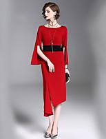 Недорогие -Жен. Уличный стиль Вспышка рукава Оболочка Платье - Контрастных цветов Средней длины