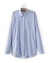 cheap -Women's Basic Street chic Cotton Loose Shirt - Striped Shirt Collar